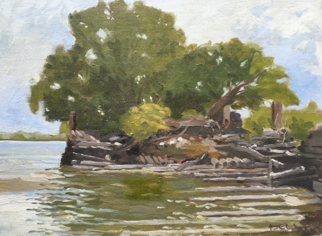 Broken pier is typical of the 19th c piers on the Delaware River now collapsing into the river. The adjoining pier has been colonized by white river birch, a remarkable image of beauty rising out of ruin. Look for painting in 2017.